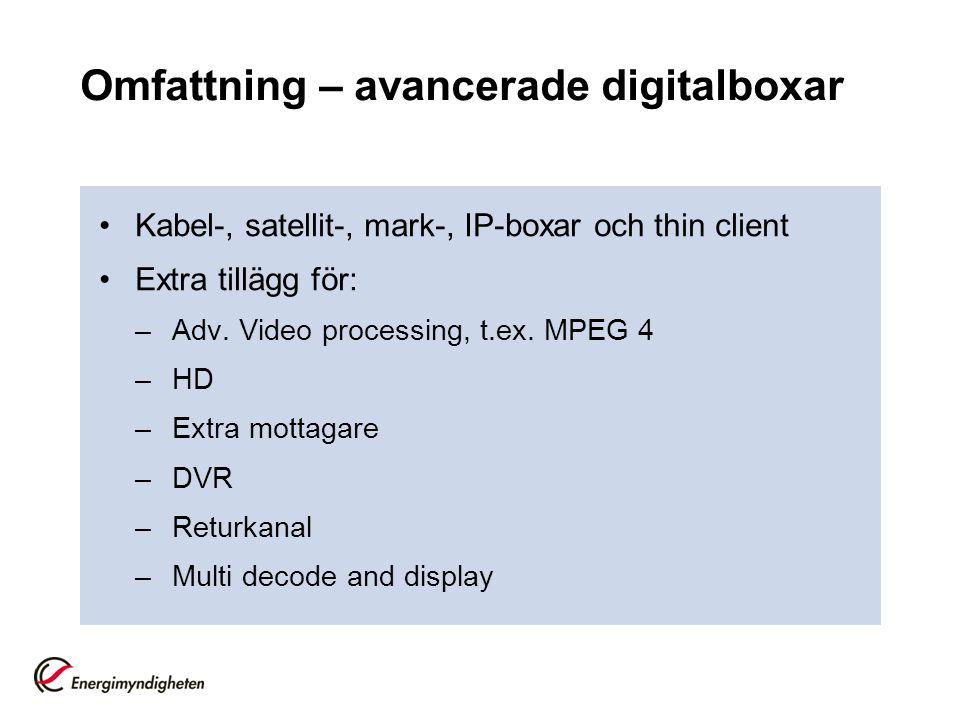 Omfattning – avancerade digitalboxar •Kabel-, satellit-, mark-, IP-boxar och thin client •Extra tillägg för: –Adv. Video processing, t.ex. MPEG 4 –HD