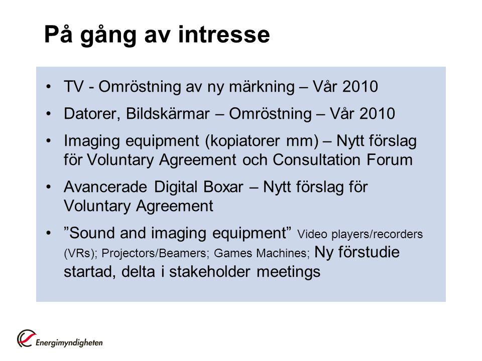 På gång av intresse •TV - Omröstning av ny märkning – Vår 2010 •Datorer, Bildskärmar – Omröstning – Vår 2010 •Imaging equipment (kopiatorer mm) – Nytt