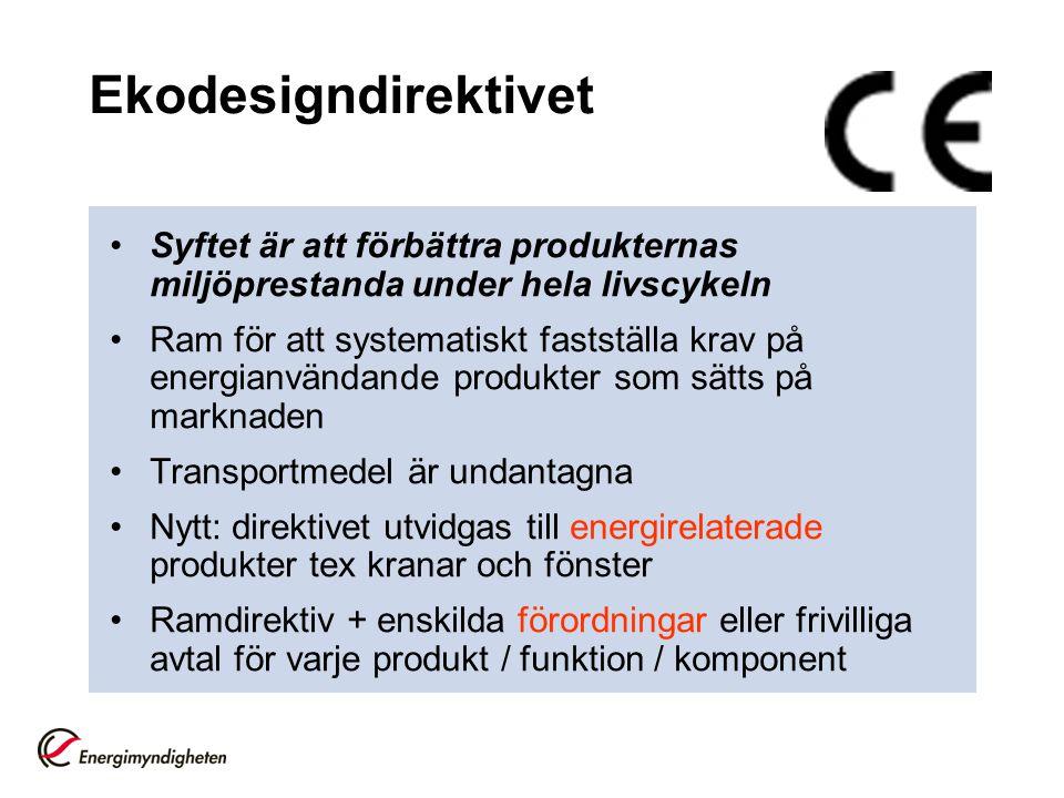 Energimärkningsdirektivet •Ramdirektiv + enskilda direktiv för varje produkt •Ca 10 produkter (kylar, frysar etc) •Allt fler produkter på gång, synkade med ekodesign •På gång att utvidgas till energirelaterade produkter