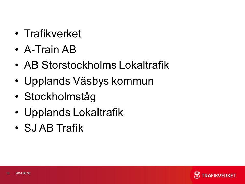 102014-06-30 •Trafikverket •A-Train AB •AB Storstockholms Lokaltrafik •Upplands Väsbys kommun •Stockholmståg •Upplands Lokaltrafik •SJ AB Trafik