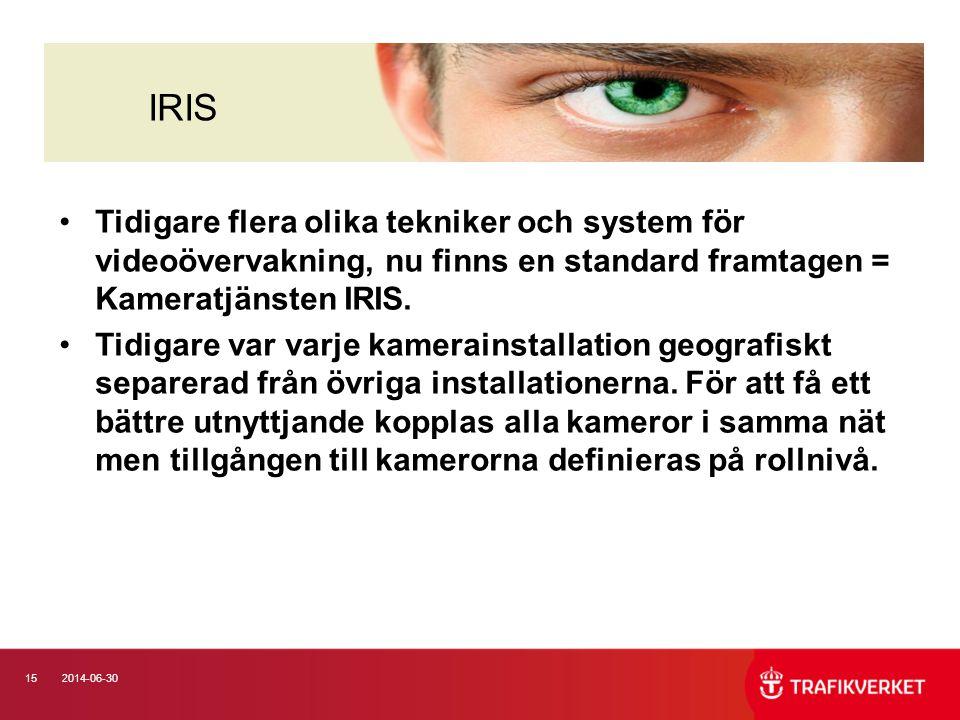 152014-06-30 •Tidigare flera olika tekniker och system för videoövervakning, nu finns en standard framtagen = Kameratjänsten IRIS. •Tidigare var varje