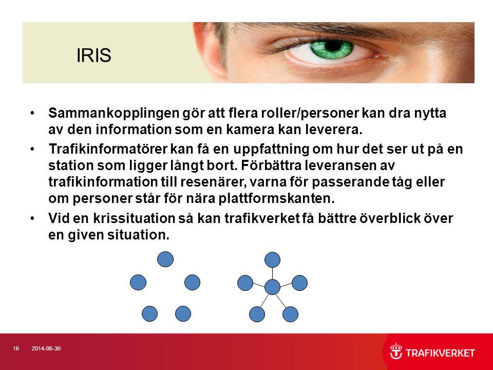 162014-06-30 •Sammankopplingen gör att flera roller/personer kan dra nytta av den information som en kamera kan leverera. •Trafikinformatörer kan få e