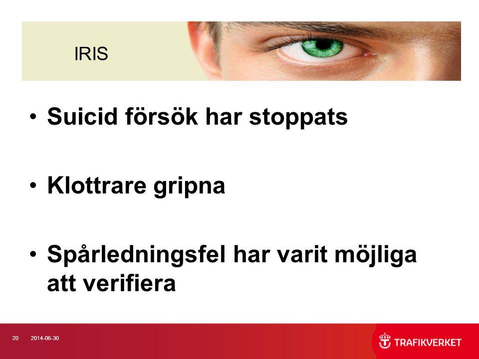 202014-06-30 •Suicid försök har stoppats •Klottrare gripna •Spårledningsfel har varit möjliga att verifiera IRIS