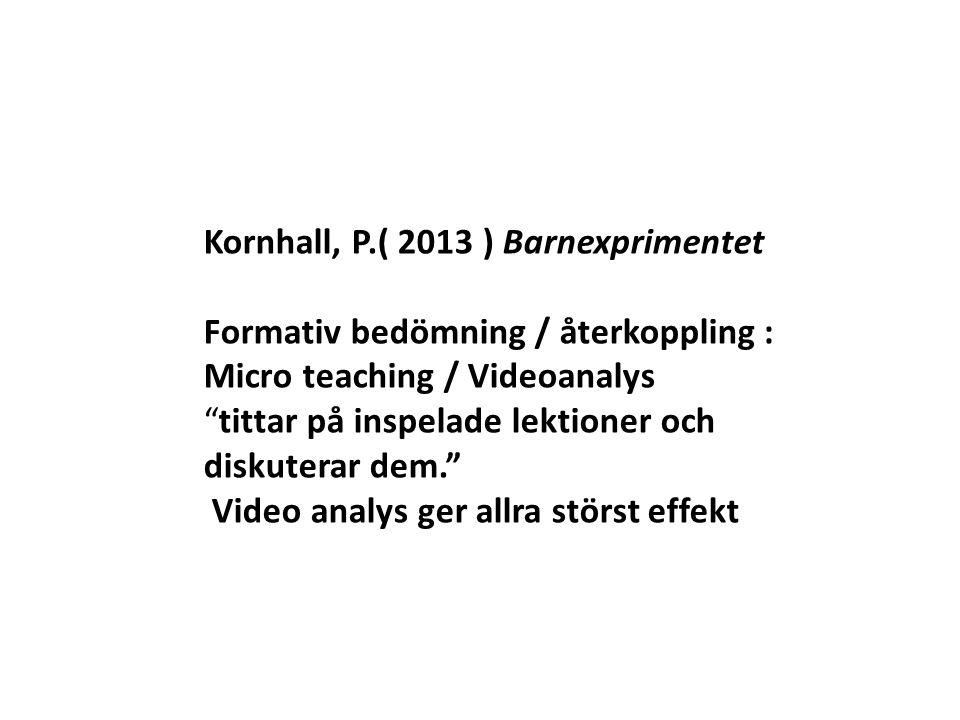 """Kornhall, P.( 2013 ) Barnexprimentet Formativ bedömning / återkoppling : Micro teaching / Videoanalys """"tittar på inspelade lektioner och diskuterar de"""