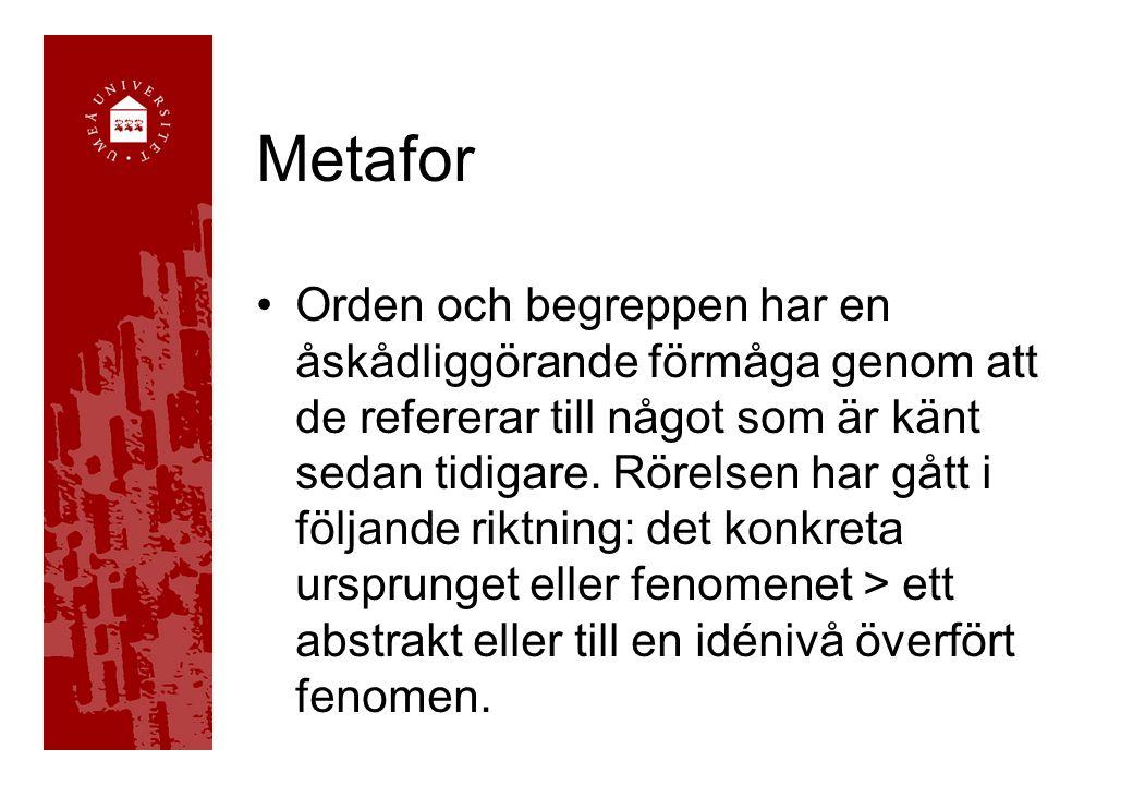 Metafor •Orden och begreppen har en åskådliggörande förmåga genom att de refererar till något som är känt sedan tidigare.
