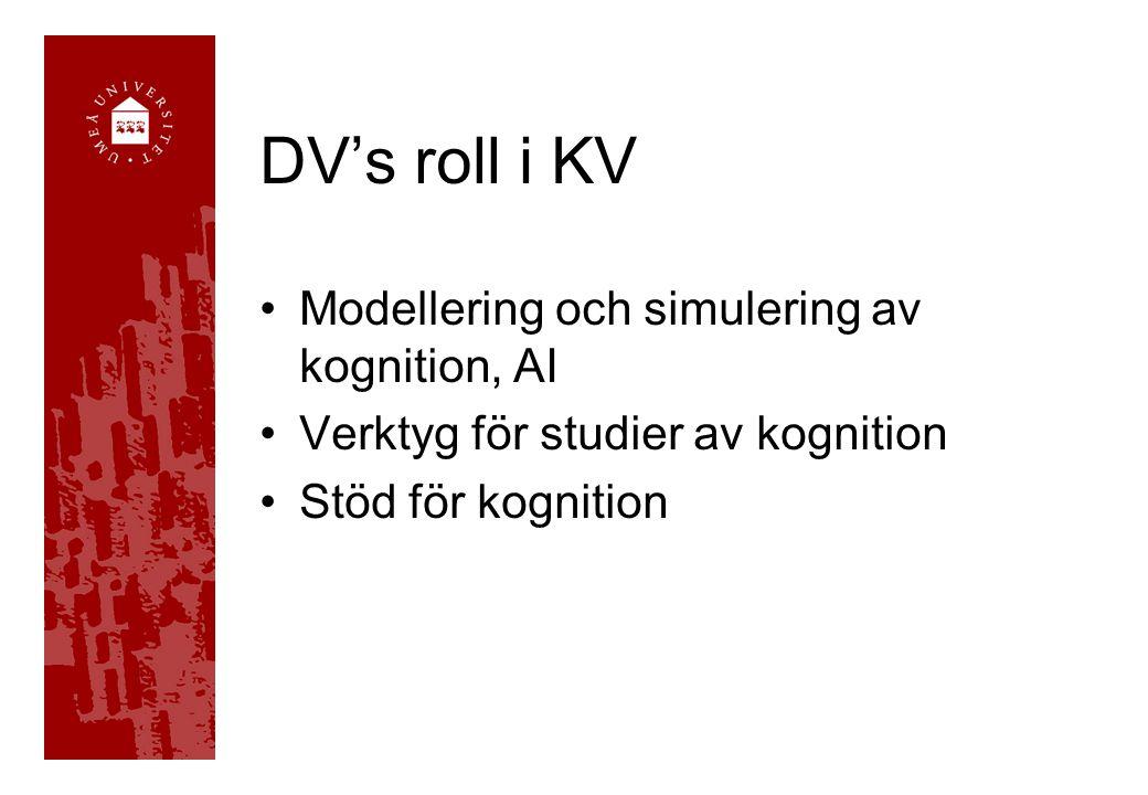 DV's roll i KV •Modellering och simulering av kognition, AI •Verktyg för studier av kognition •Stöd för kognition