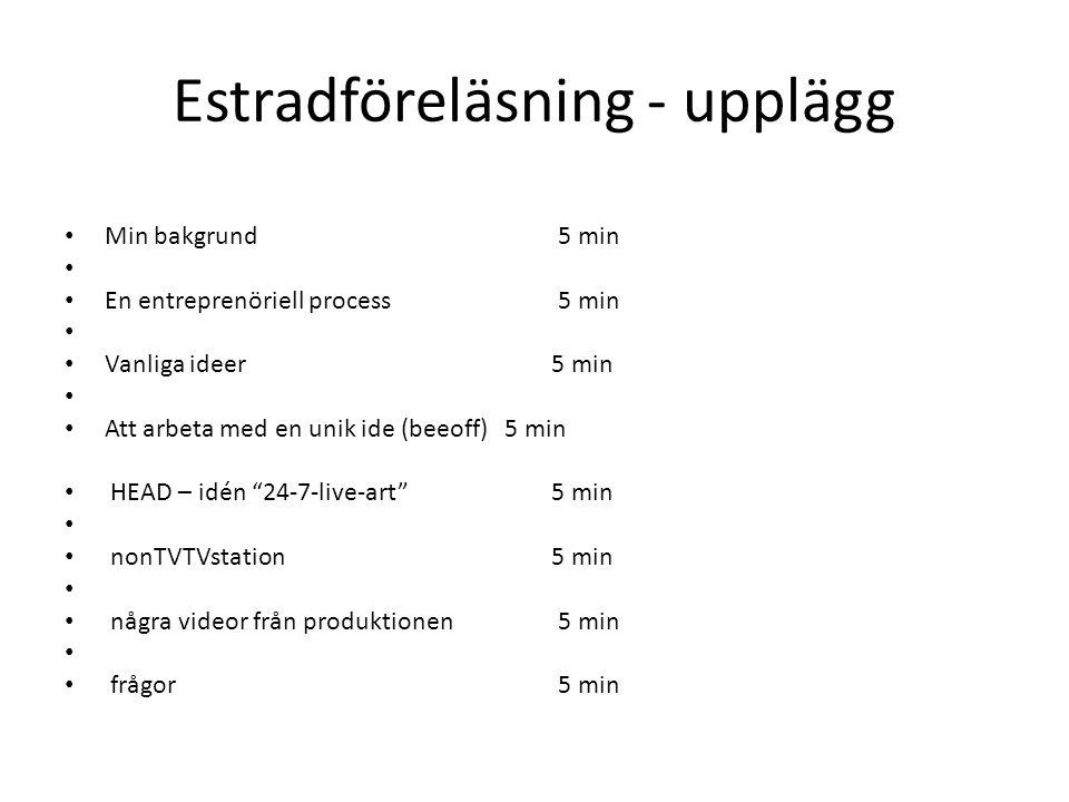 Estradföreläsning - upplägg • Min bakgrund 5 min • • En entreprenöriell process 5 min • • Vanliga ideer 5 min • • Att arbeta med en unik ide (beeoff) 5 min • HEAD – idén 24-7-live-art 5 min • • nonTVTVstation 5 min • • några videor från produktionen 5 min • • frågor 5 min