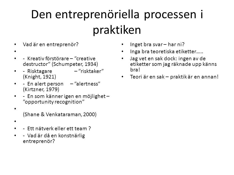 """Den entreprenöriella processen i praktiken • Vad är en entreprenör? • • - Kreativ förstörare – """"creative destructor"""" (Schumpeter, 1934) • - Risktagare"""