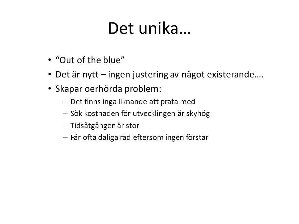 Det unika… • Out of the blue • Det är nytt – ingen justering av något existerande….