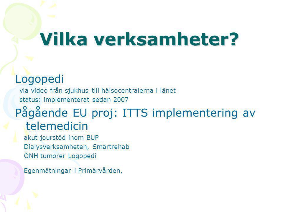Vilka verksamheter? Logopedi via video från sjukhus till hälsocentralerna i länet status: implementerat sedan 2007 Pågående EU proj: ITTS implementeri