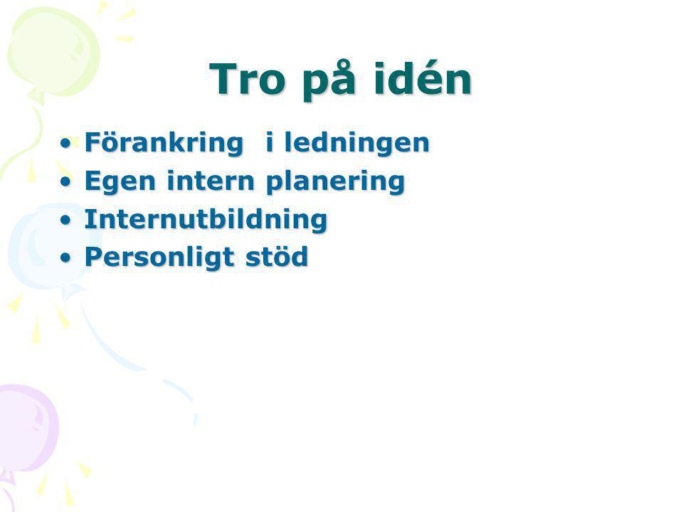 Tro på idén •Förankring i ledningen •Egen intern planering •Internutbildning •Personligt stöd