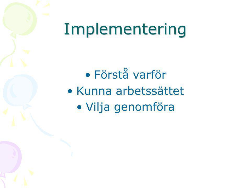 Implementering •Förstå varför •Kunna arbetssättet •Vilja genomföra