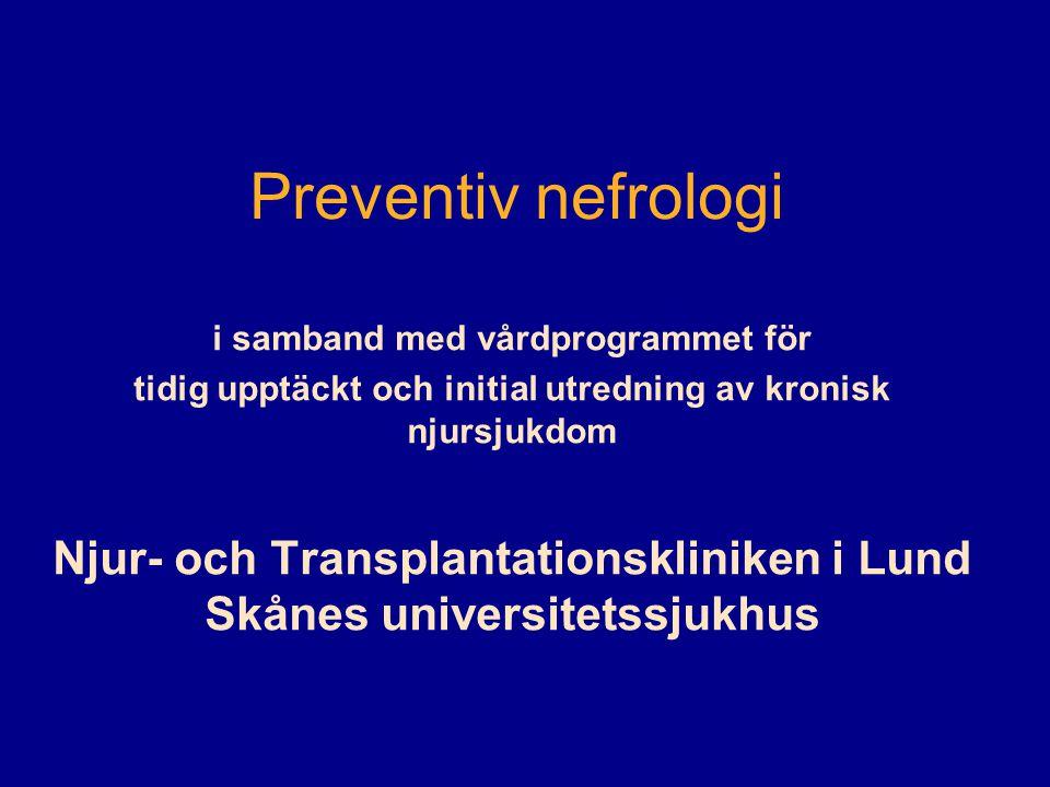 CKD i Skåne eGFR (ml/min/1.73m 2 CKD stadiumPrevalens >90127 000 60 - 89227 000 30 - 59340 000 15 - 2941500 < 1551500 total≈ 100 000 Hallan et al, JASN17:2275-2284, 2006