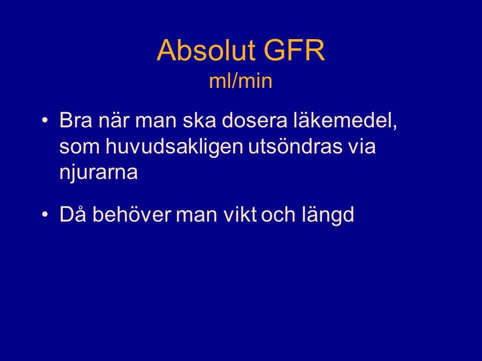 Absolut GFR ml/min •Bra när man ska dosera läkemedel, som huvudsakligen utsöndras via njurarna •Då behöver man vikt och längd