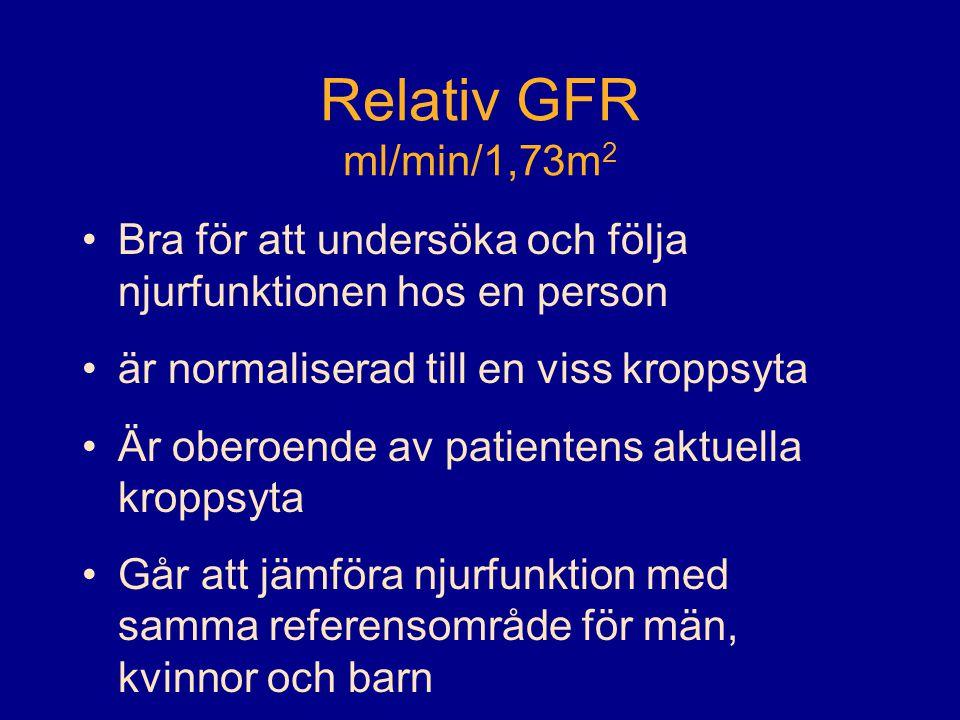 Relativ GFR ml/min/1,73m 2 •Bra för att undersöka och följa njurfunktionen hos en person •är normaliserad till en viss kroppsyta •Är oberoende av patientens aktuella kroppsyta •Går att jämföra njurfunktion med samma referensområde för män, kvinnor och barn