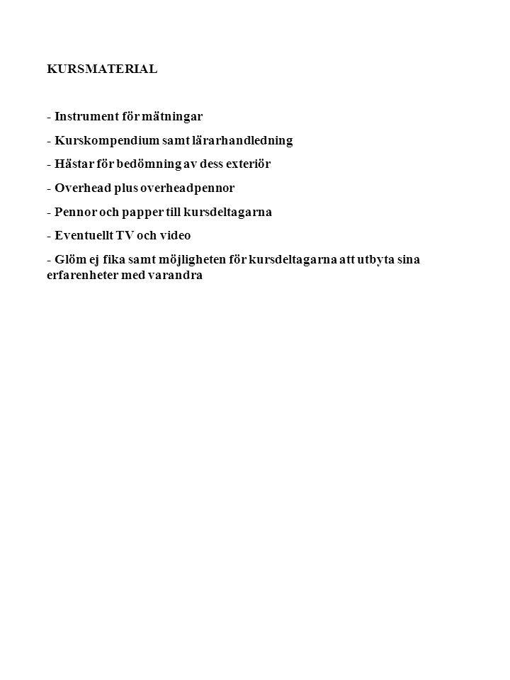 BLOCK I INNEHÅLL BLOCK I (ca 2.5 tim) Avelsmålet för den svenska varmblodiga travaren.