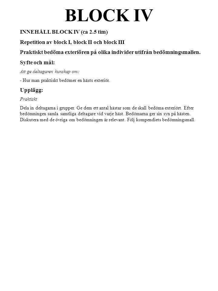 INNEHÅLL BLOCK IV (ca 2.5 tim) Repetition av block I, block II och block III Praktiskt bedöma exteriören på olika individer utifrån bedömningsmallen.