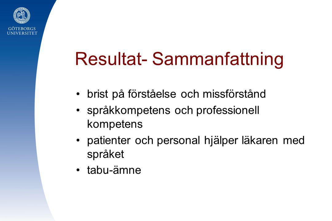 Resultat- Sammanfattning •brist på förståelse och missförstånd •språkkompetens och professionell kompetens •patienter och personal hjälper läkaren med
