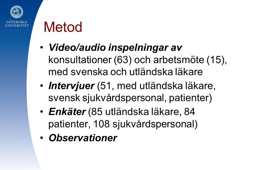 Metod •Video/audio inspelningar av konsultationer (63) och arbetsmöte (15), med svenska och utländska läkare •Intervjuer (51, med utländska läkare, sv
