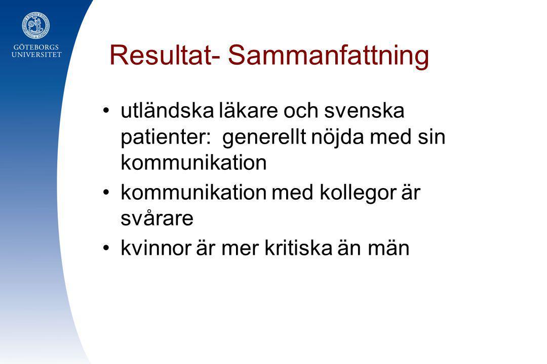 Resultat- Sammanfattning •utländska läkare och svenska patienter: generellt nöjda med sin kommunikation •kommunikation med kollegor är svårare •kvinno