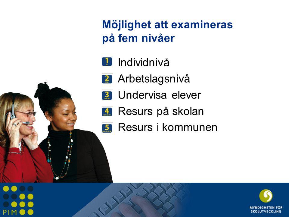 Möjlighet att examineras på fem nivåer Individnivå Arbetslagsnivå Undervisa elever Resurs på skolan Resurs i kommunen