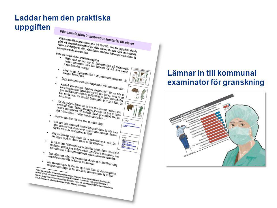 Laddar hem den praktiska uppgiften Lämnar in till kommunal examinator för granskning