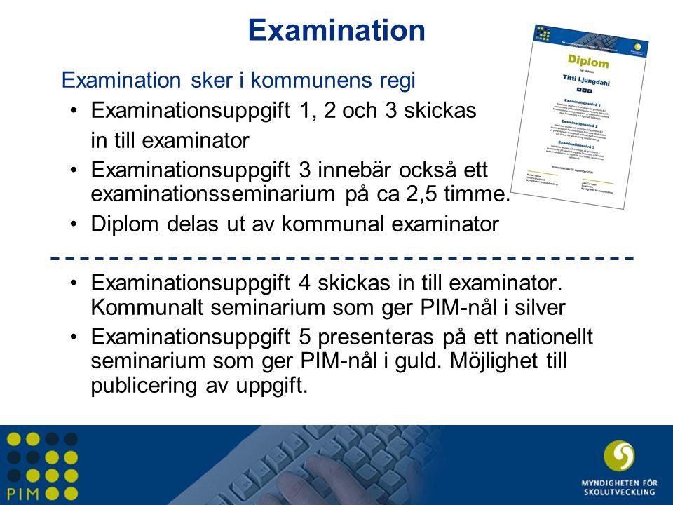 Examination Examination sker i kommunens regi •Examinationsuppgift 1, 2 och 3 skickas in till examinator •Examinationsuppgift 3 innebär också ett exam