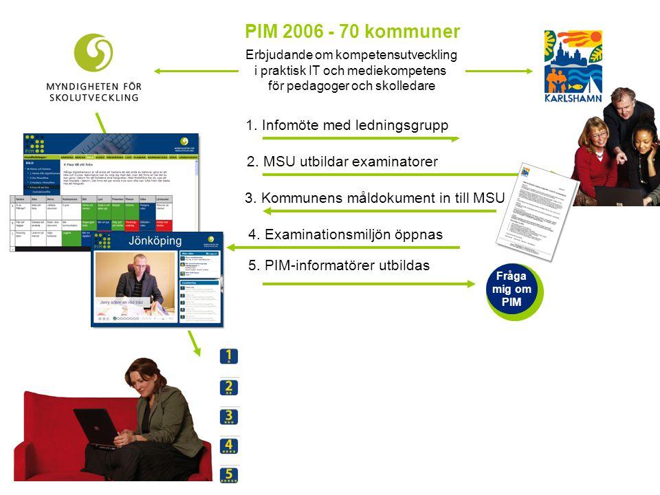 PIM 2006 - 70 kommuner Erbjudande om kompetensutveckling i praktisk IT och mediekompetens för pedagoger och skolledare 1. Infomöte med ledningsgrupp 2