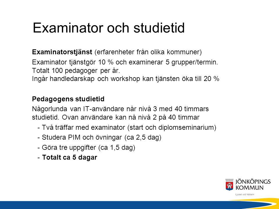 Examinator och studietid Examinatorstjänst (erfarenheter från olika kommuner) Examinator tjänstgör 10 % och examinerar 5 grupper/termin. Totalt 100 pe
