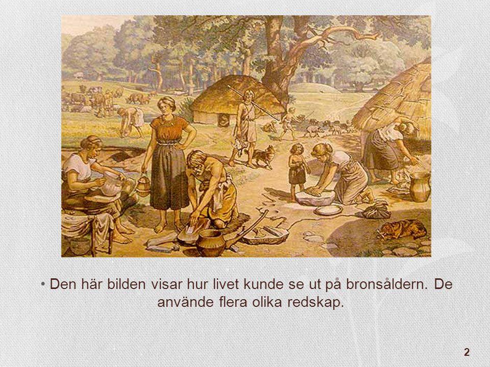 13 •På bronsåldern gjorde man hällristningar.De ristade in bilder i berg.