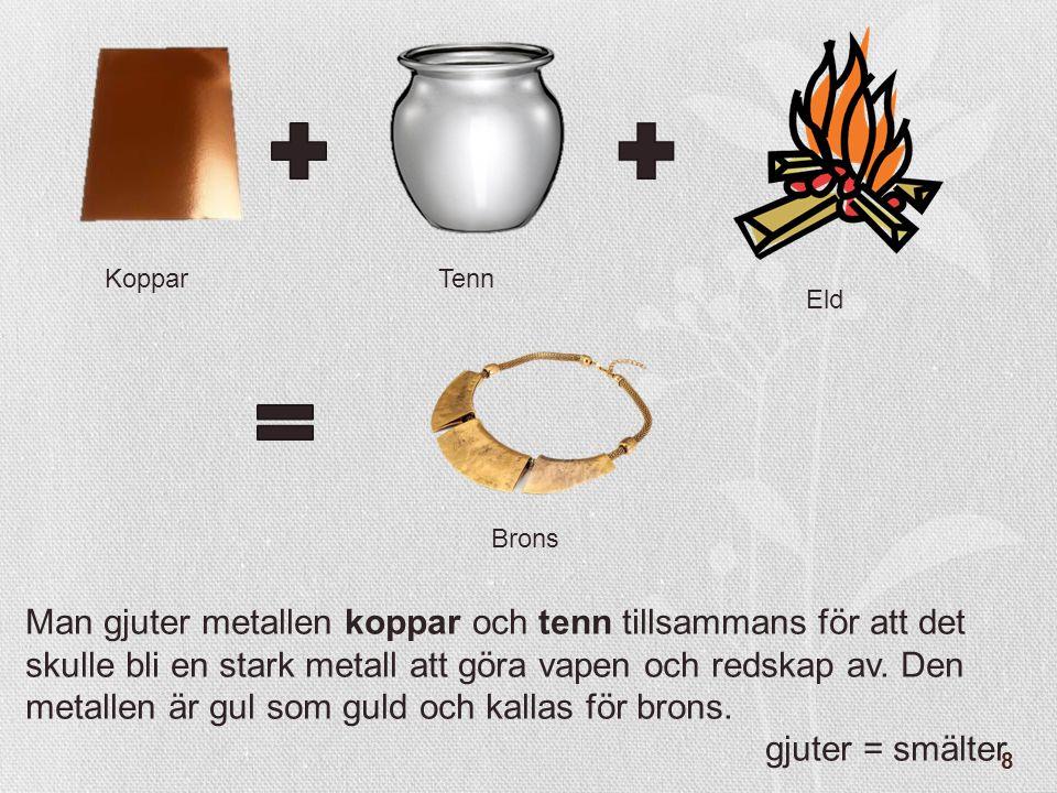 8 KopparTenn Brons Eld Man gjuter metallen koppar och tenn tillsammans för att det skulle bli en stark metall att göra vapen och redskap av. Den metal