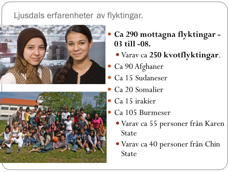 Ljusdals erfarenheter av flyktingar. Ca 290 mottagna flyktingar - 03 till -08.