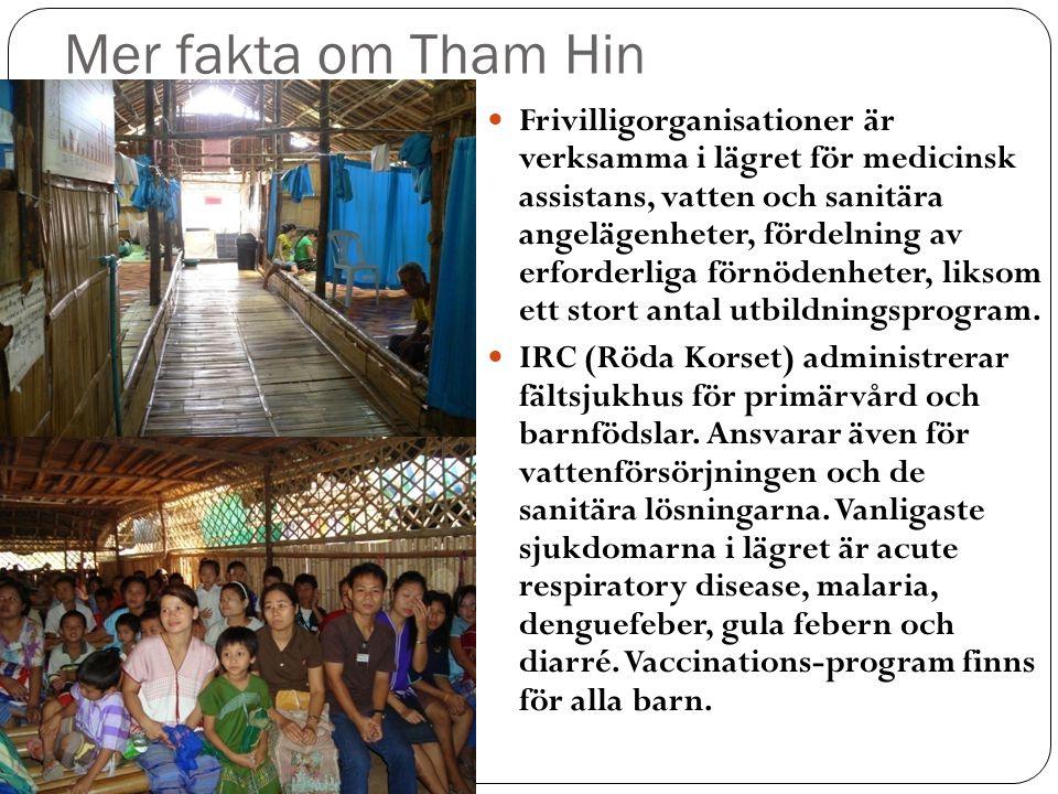 Mer fakta om Tham Hin  Frivilligorganisationer är verksamma i lägret för medicinsk assistans, vatten och sanitära angelägenheter, fördelning av erforderliga förnödenheter, liksom ett stort antal utbildningsprogram.