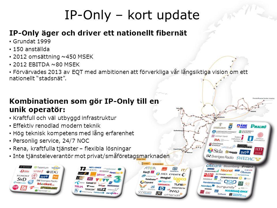 IP-Only – kort update IP-Only äger och driver ett nationellt fibernät.