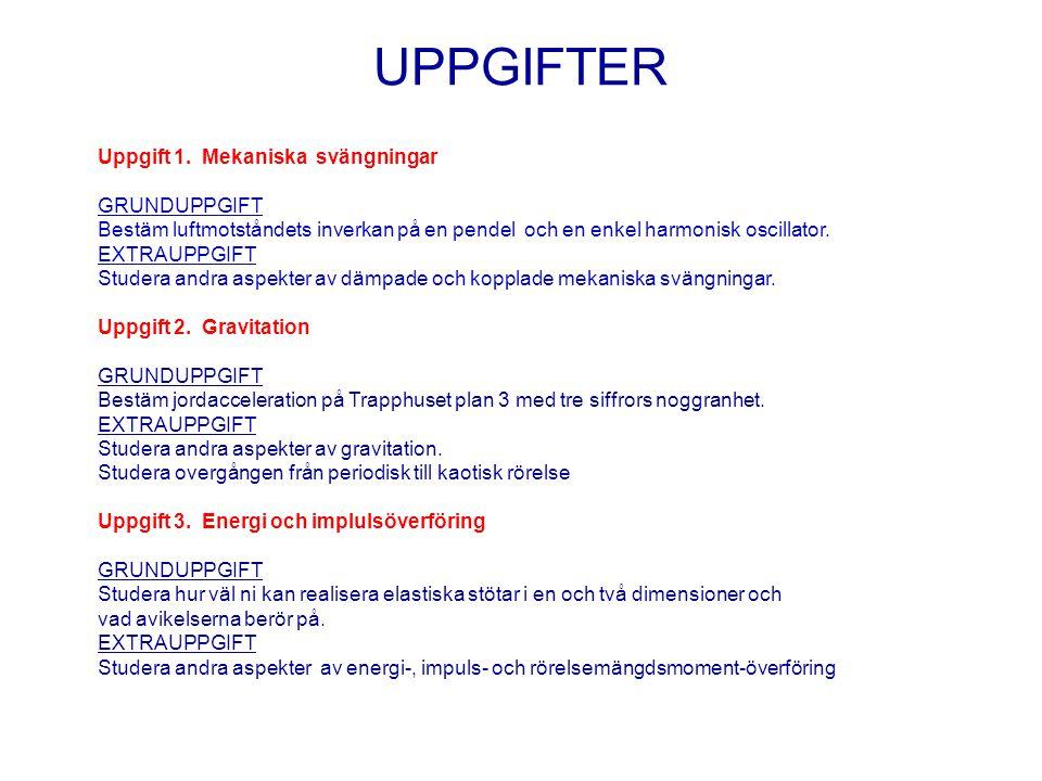 UPPGIFTER Uppgift 1. Mekaniska svängningar GRUNDUPPGIFT Bestäm luftmotståndets inverkan på en pendel och en enkel harmonisk oscillator. EXTRAUPPGIFT S