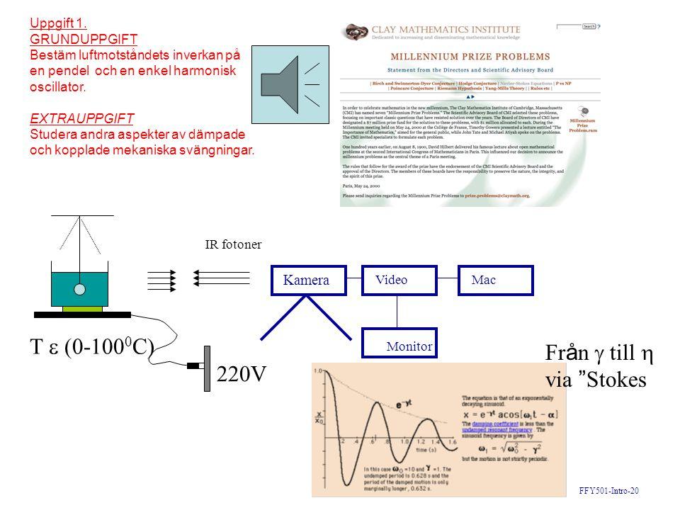 FFY501-Intro-20 IR fotoner Uppgift 1. GRUNDUPPGIFT Bestäm luftmotståndets inverkan på en pendel och en enkel harmonisk oscillator. EXTRAUPPGIFT Studer