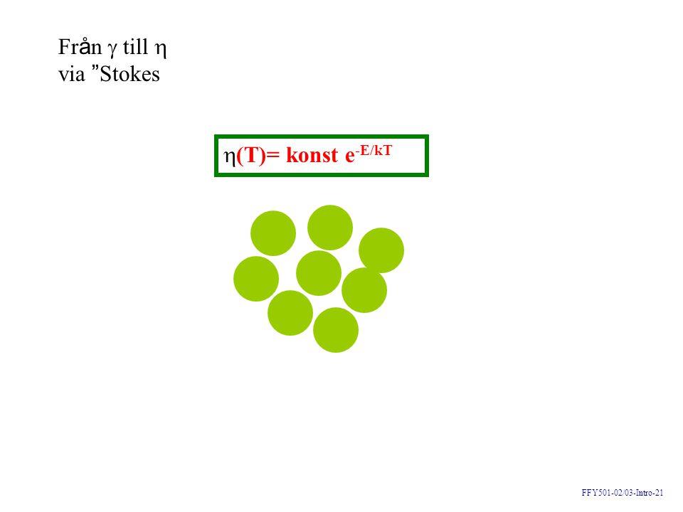 """FFY501-02/03-Intro-21 Fr å n  till  via """" Stokes  (T)= konst e -E/kT"""