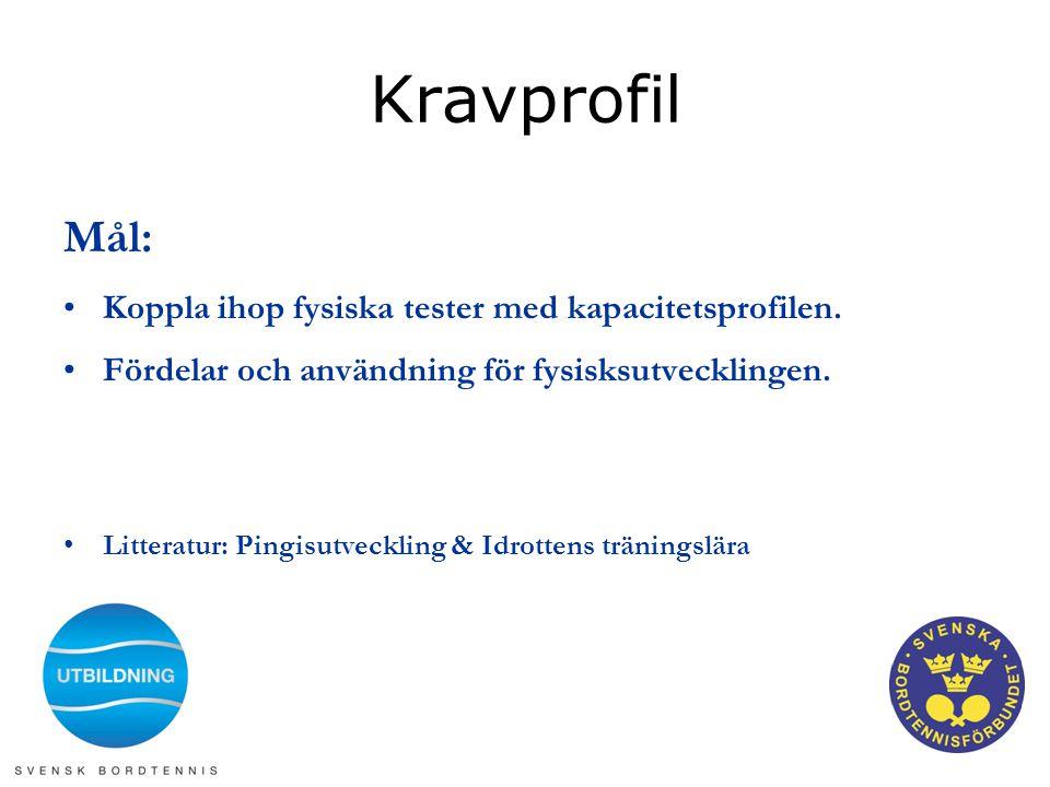 Kravprofil Mål: •Koppla ihop fysiska tester med kapacitetsprofilen. •Fördelar och användning för fysisksutvecklingen. •Litteratur: Pingisutveckling &