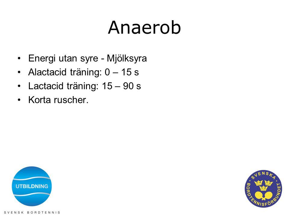 Anaerob •Energi utan syre - Mjölksyra •Alactacid träning: 0 – 15 s •Lactacid träning: 15 – 90 s •Korta ruscher.
