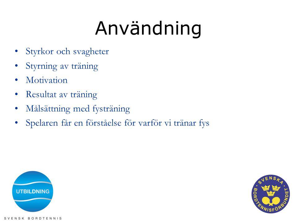 Användning •Styrkor och svagheter •Styrning av träning •Motivation •Resultat av träning •Målsättning med fysträning •Spelaren får en förståelse för va