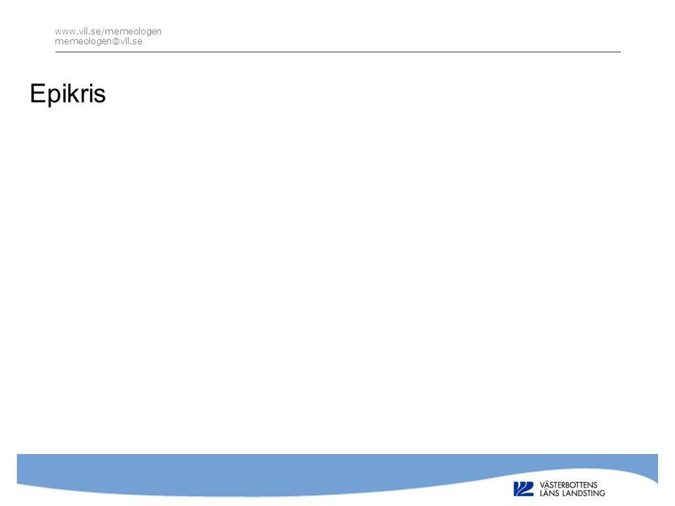 www.vll.se/memeologen memeologen@vll.se Utskrivningssamtal enligt standard Samtalet bör baserad på relevant information; • Var inlagd • Varför inlagd • Hur länge •Vem har varit ansvarig för vården • Ändringar i läkemedelsbehandling • Var uppföljning ska ske/vad i övrigt händer efter hemgång • Planering av eftervård (socialt, uppföljning vem kontakta, osv) • Annat… Teach-back metodik – Berätta för mig • Ett verktyg för att säkerställa att patienten förstått all information du gett henne/honom • Efter att du delgett dem en plan eller beskrivit en behandling – be dem med egna ord återberätta det du just sagt • Ställ frågor om vad som gäller nu, t ex; – Vad kommer att hända när du kommit hem? – För att vara på den säkra sidan, kan du berätta för mig vad du ska göra när du kommer hem? –Det vi pratat om idag, hur tänker du berätta om det för din fru.