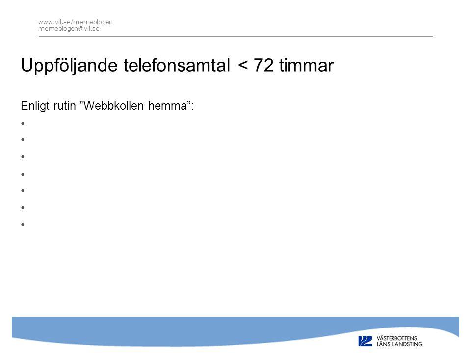 www.vll.se/memeologen memeologen@vll.se Uppföljande telefonsamtal < 72 timmar Enligt rutin Webbkollen hemma : •