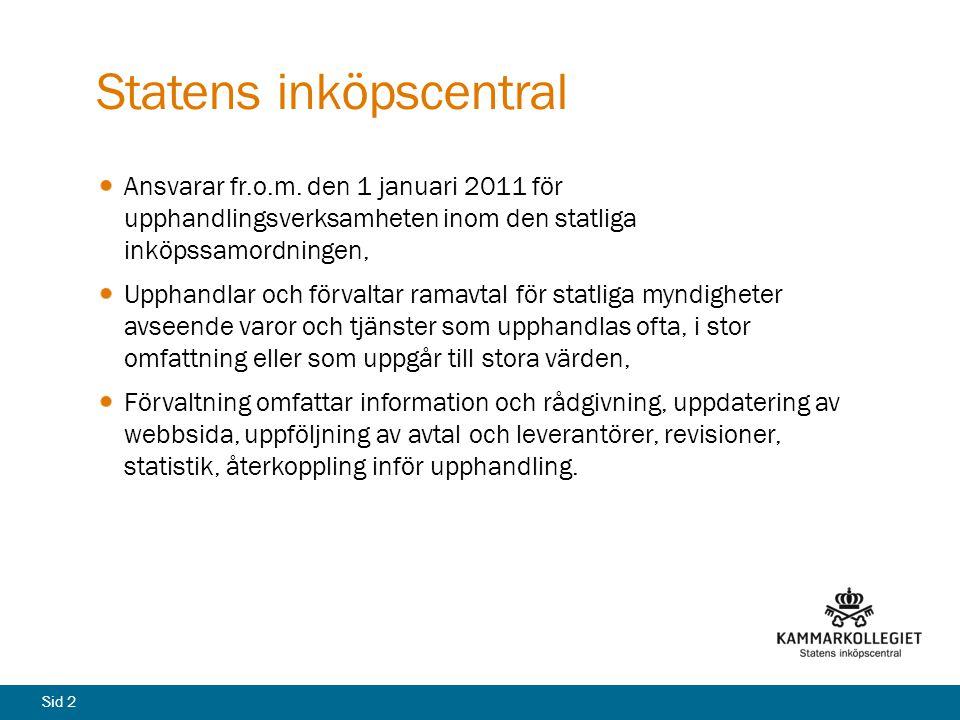Sid 2 Statens inköpscentral Ansvarar fr.o.m. den 1 januari 2011 för upphandlingsverksamheten inom den statliga inköpssamordningen, Upphandlar och förv