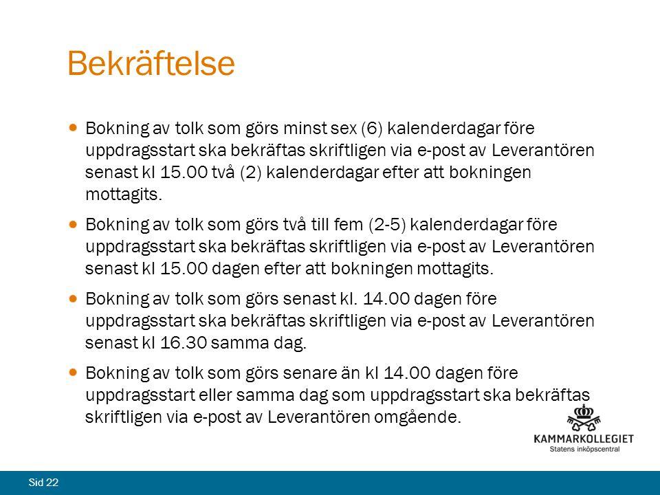Sid 22 Bekräftelse Bokning av tolk som görs minst sex (6) kalenderdagar före uppdragsstart ska bekräftas skriftligen via e-post av Leverantören senast
