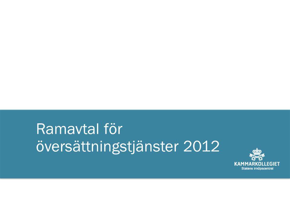 Ramavtal för översättningstjänster 2012
