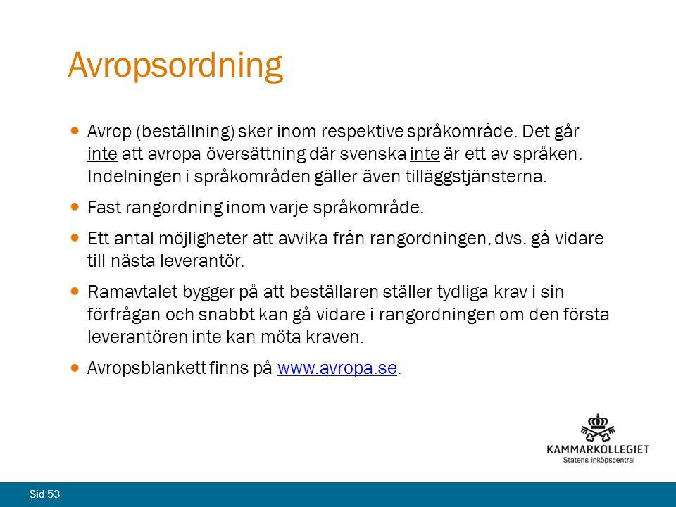Sid 53 Avropsordning Avrop (beställning) sker inom respektive språkområde. Det går inte att avropa översättning där svenska inte är ett av språken. In