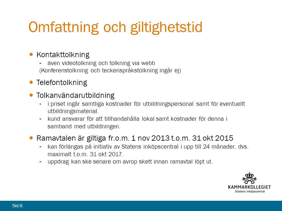 Sid 8 Omfattning och giltighetstid Kontakttolkning även videotolkning och tolkning via webb (Konferenstolkning och teckenspråkstolkning ingår ej) Tel