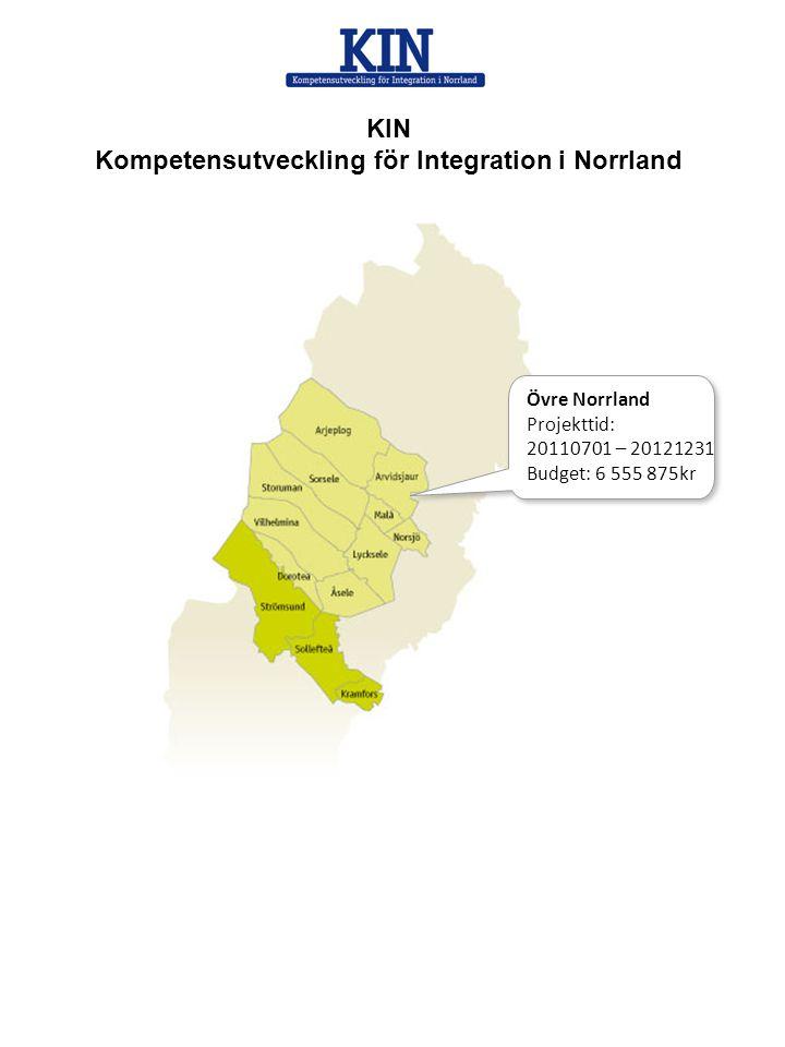 KIN Kompetensutveckling för Integration i Norrland Övre Norrland Projekttid: 20110701 – 20121231 Budget: 6 555 875kr