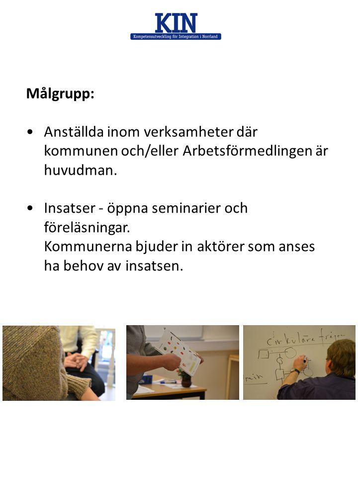 Målgrupp: •Anställda inom verksamheter där kommunen och/eller Arbetsförmedlingen är huvudman. •Insatser - öppna seminarier och föreläsningar. Kommuner