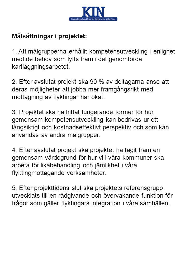 Målsättningar i projektet: 1. Att målgrupperna erhållit kompetensutveckling i enlighet med de behov som lyfts fram i det genomförda kartläggningsarbet
